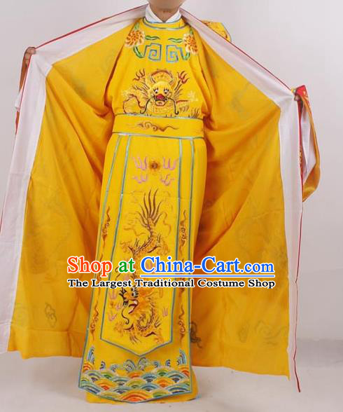 Professional Chinese Peking Opera Costumes Ancient Emperor Embroidered Yellow Clothing for Adults