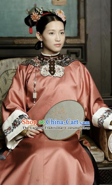Chinese Ancient Drama Story of Yanxi Palace Qing Dynasty Manchu Court Maid Embroidered Costume and Headpiece Complete Set