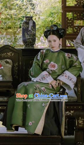 Story of Yanxi Palace Chinese Ancient Qing Dynasty Manchu Imperial Consort Costumes and Headpiece Complete Set