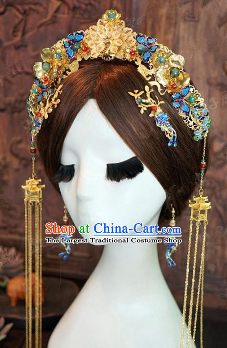 Chinese Handmade Ancient Wedding Hair Accessories Cloisonne Phoenix Coronet Tassel Hairpins Complete Set for Women