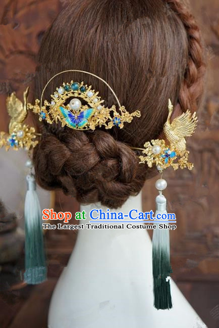 Chinese Handmade Wedding Hair Accessories Ancient Bride Blueing Butterfly Hairpins Complete Set for Women