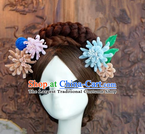 Top Grade Chinese Handmade Hair Accessories Qing Dynasty Princess Velvet Flowers Hairpins for Women