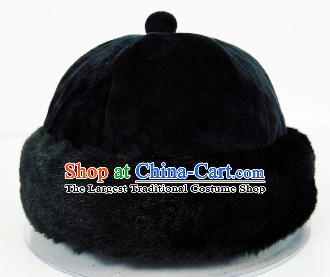 Top Natural Fur Chinese Traditional Handmade Qing Dynasty Emperor Manchu Hat for Men