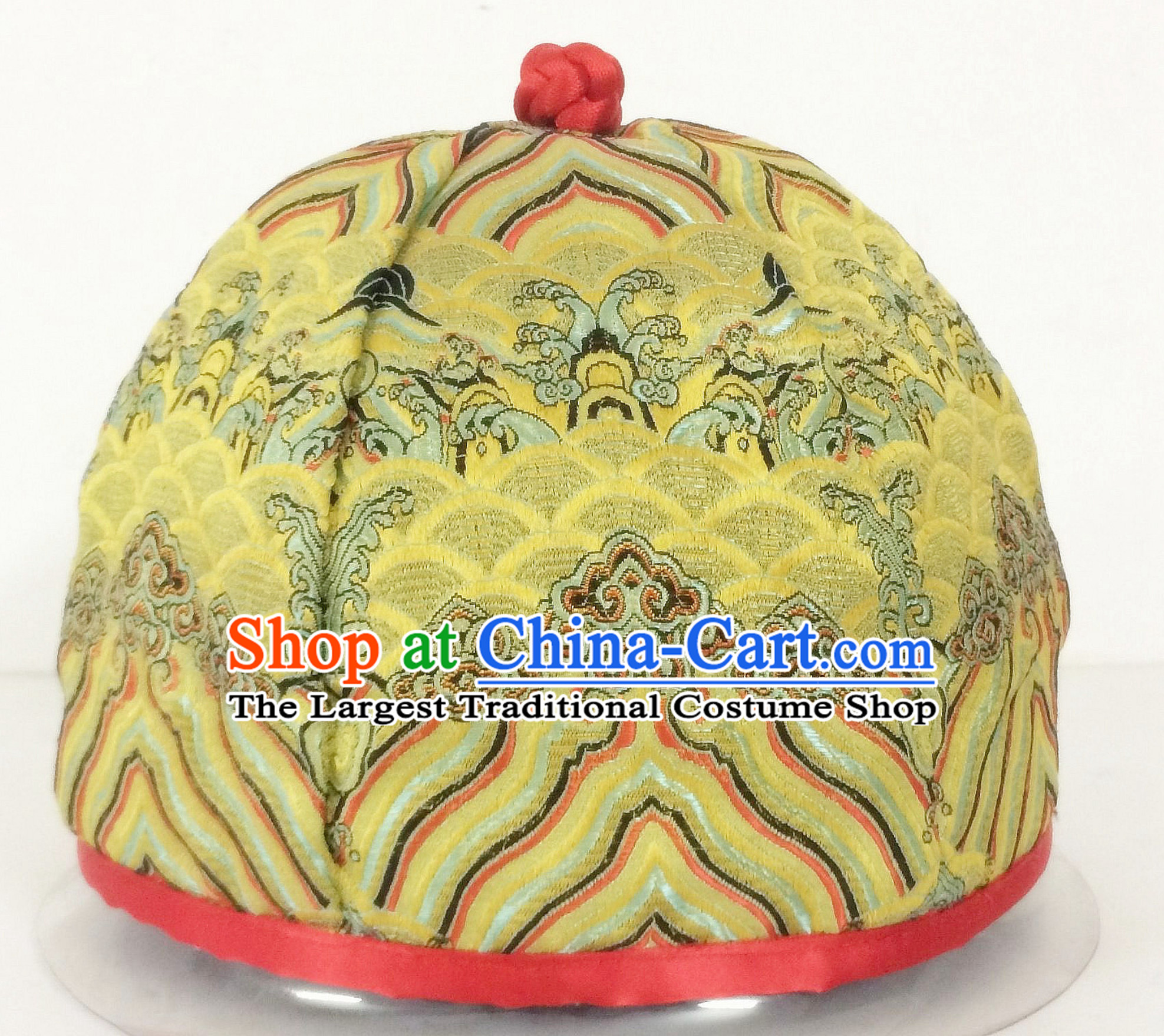 Chinese Ancient Style Handmade Qing Dynasty Golden Imperial Hat Manchu Hat for Men