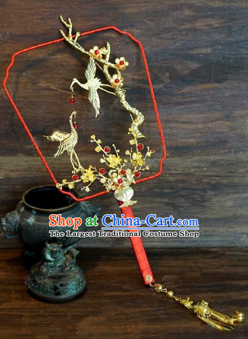 Top Grade Chinese Handmade Palace Fans Ancient Plum Blossom Cranes Round Fans for Women