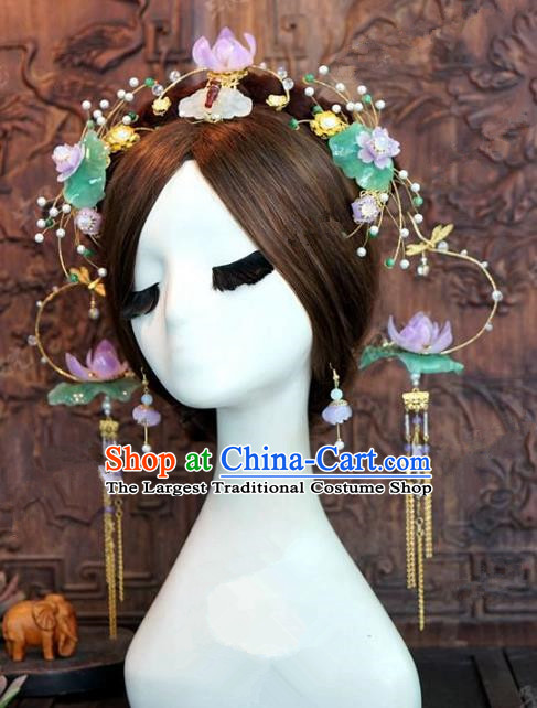 Chinese Handmade Ancient Lotus Phoenix Coronet Wedding Hair Accessories Hairpins Complete Set for Women