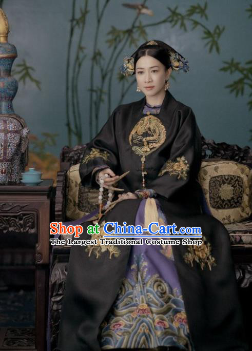 Chinese Ancient Story of Yanxi Palace Qing Dynasty Empress Embroidered Costumes and Headpiece Complete Set