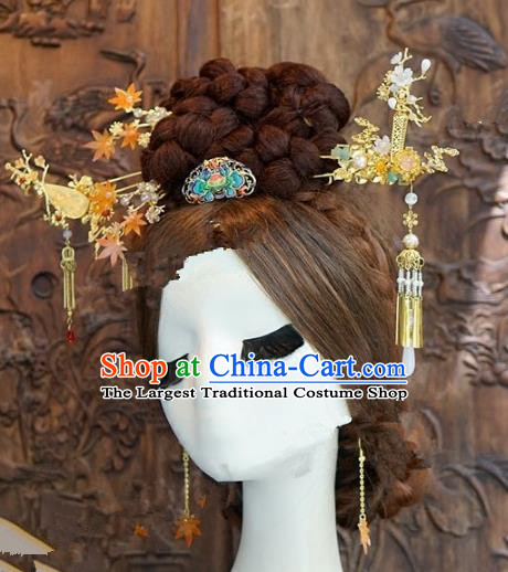 Chinese Handmade Wedding Step Shake Hair Accessories Ancient Tassel Hairpins Complete Set for Women
