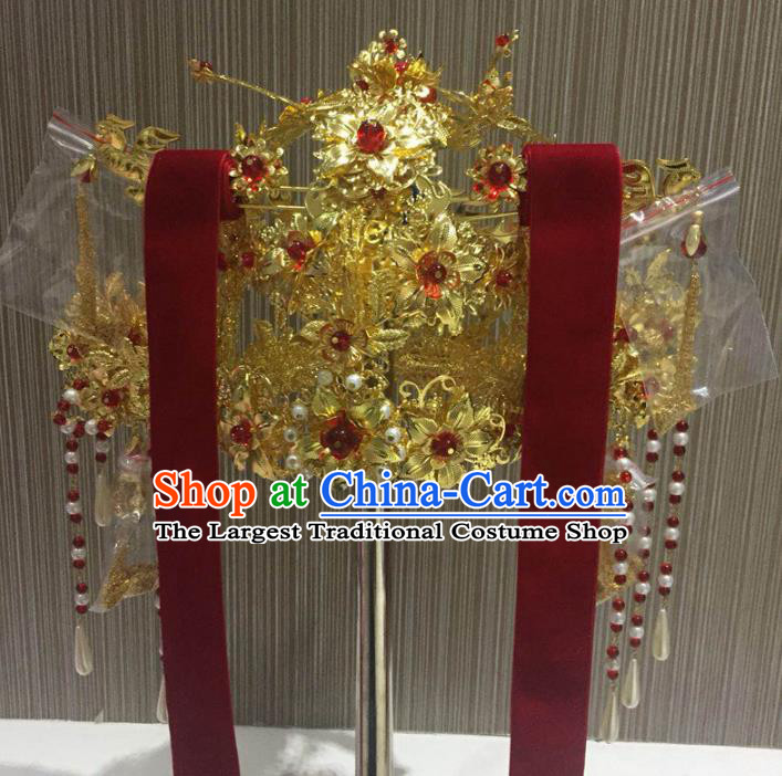 Chinese Ancient Handmade Wedding Deluxe Phoenix Coronet Palace Lady Hairpins Hair Accessories for Women