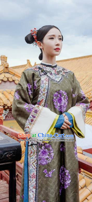 Ancient Chinese Qing Dynasty Imperial Consort Story of Yanxi Palace Embroidered Costumes and Headpiece for Women