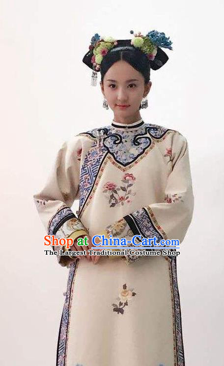 Ancient Chinese Qing Dynasty Las Meninas Drama Story of Yanxi Palace Embroidered Costumes and Headpiece for Women