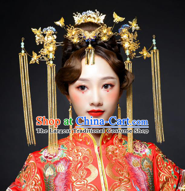 Chinese Ancient Handmade Bride Phoenix Coronet Hairpins Hair Accessories Step Shake Complete Set for Women