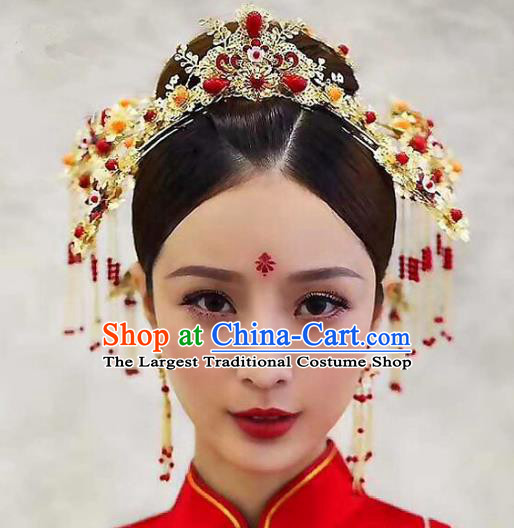 Chinese Ancient Handmade Phoenix Coronet Bride Tassel Hairpins Hair Accessories Complete Set for Women