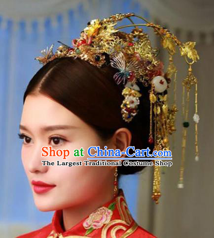 Chinese Ancient Handmade Bride Phoenix Coronet Hairpins Hair Accessories Complete Set for Women