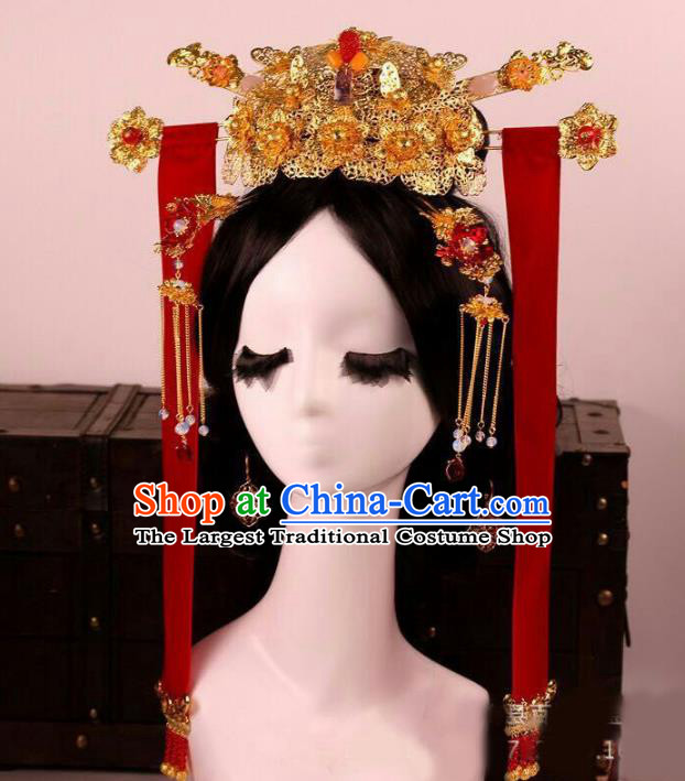 Chinese Ancient Handmade Hairpins Bride Phoenix Coronet Hair Accessories Complete Set for Women