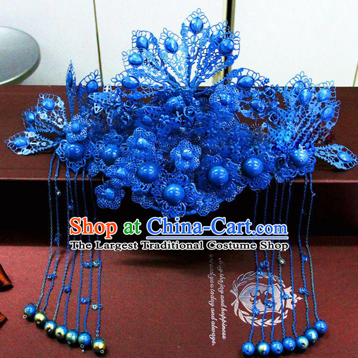 Chinese Ancient Handmade Empress Blue Phoenix Coronet Bride Hair Accessories Headwear for Women
