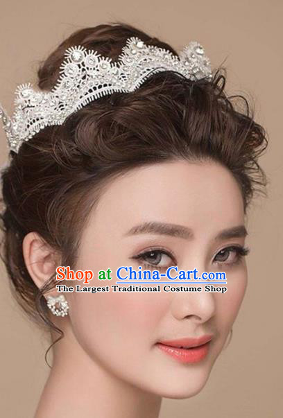 Top Grade Handmade Baroque Crystal Lace Royal Crown Wedding Hair Jewelry Accessories for Women