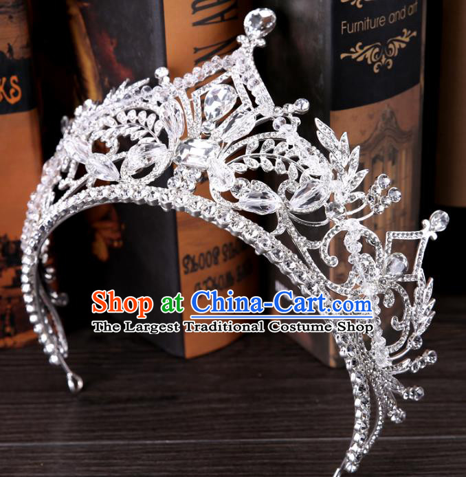 Top Grade Handmade Wedding Baroque Queen Crystal Royal Crown Bride Hair Jewelry Accessories for Women