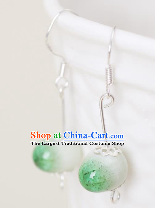 Top Grade Chinese Handmade Green Earrings Jingdezhen Ceramics Ear Accessories for Women