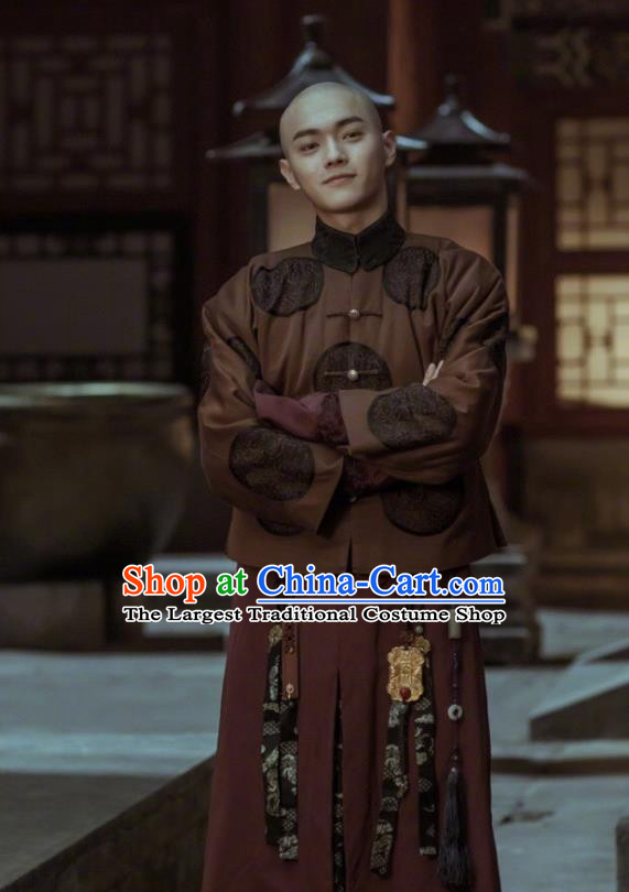Story of Yanxi Palace Ancient Chinese Qing Dynasty Imperial Bodyguard Embroidered Costumes for Men