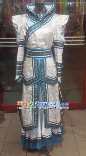 Chinese Traditional Mongolian Folk Dance Costume China Mongol Nationality White Dress for Women