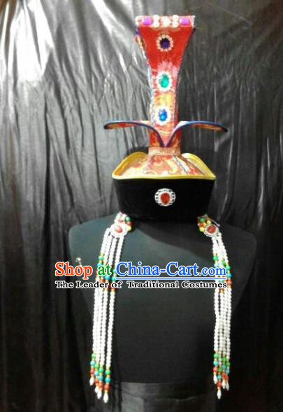 Chinese Traditional Mongolian Bride Tassel Hats China Mongol Nationality Wedding Headwear for Women