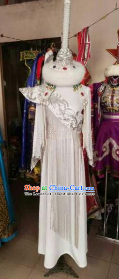 Chinese Traditional Mongolian Bride Costume China Mongol Nationality Folk Dance White Dress for Women