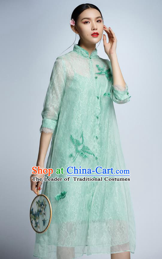 Chinese Traditional Embroidered Crane Green Cheongsam China National Costume Tang Suit Qipao Dress for Women
