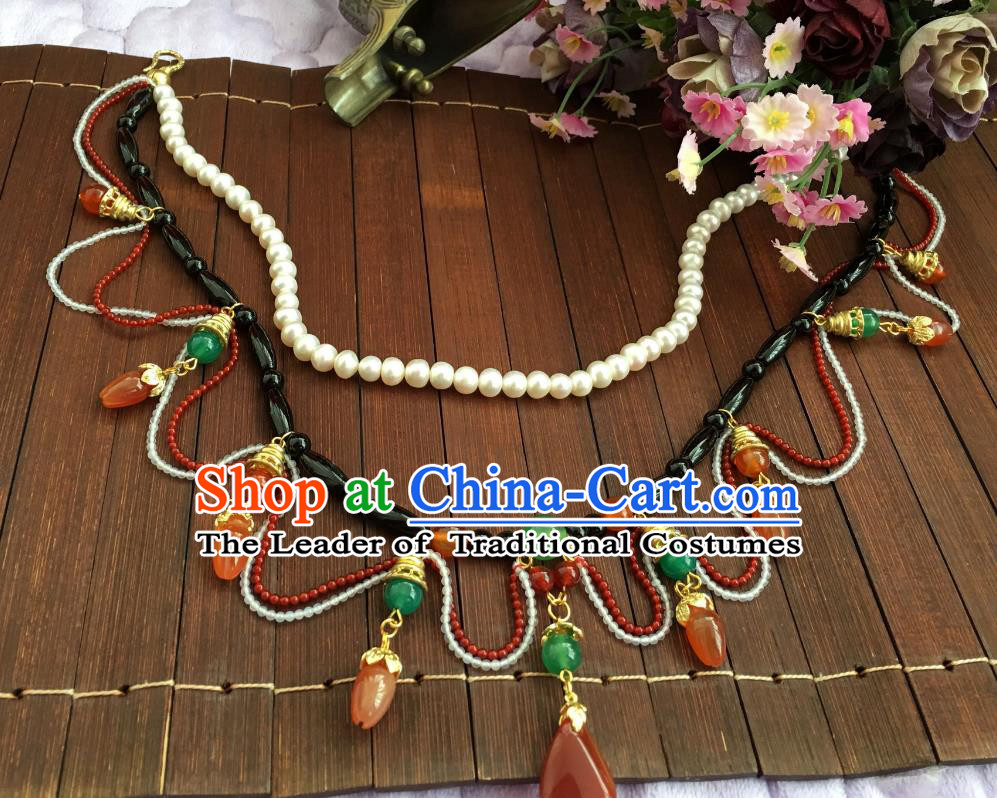 Chinese Traditional Jewelry Accessories Ancient Hanfu Pearls Necklace for Women