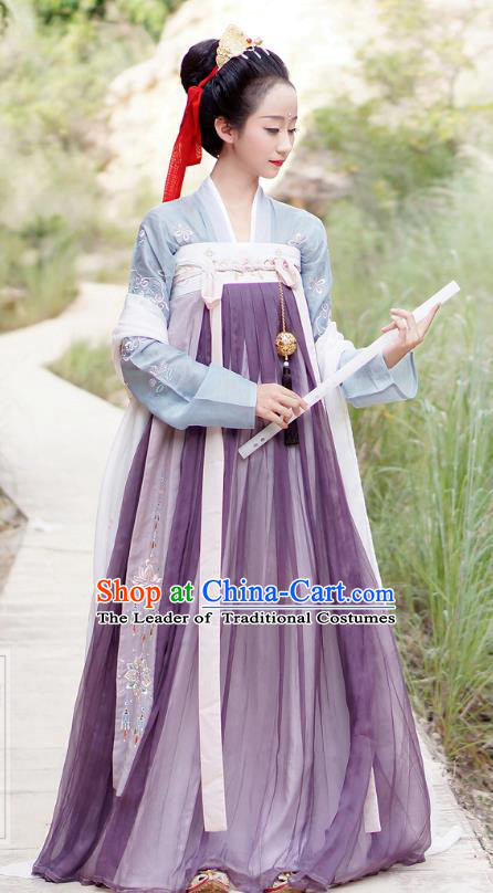 Chinese Ancient Tang Dynasty Princess Hanfu Dress Embroidered Costumes for Women