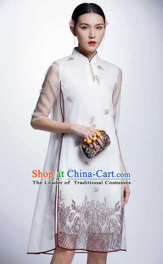 Chinese Traditional Costume Printing White Cheongsam China National Tang Suit Qipao Dress for Women