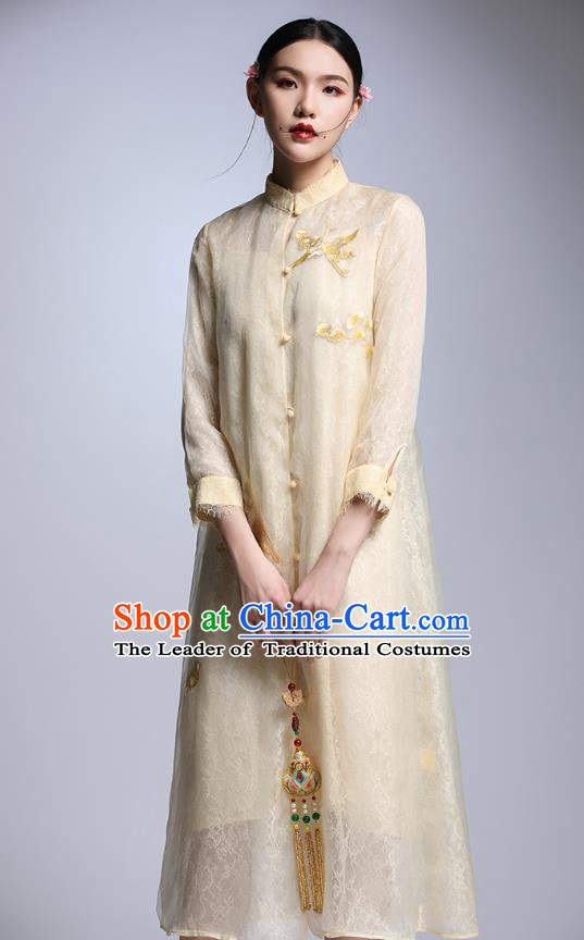 Chinese Traditional Tang Suit Embroidered Crane Yellow Cheongsam China National Qipao Dress for Women
