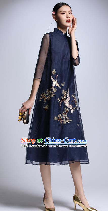 Chinese Traditional Tang Suit Embroidered Crane Navy Cheongsam China National Qipao Dress for Women