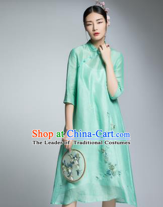 Chinese Traditional Tang Suit Embroidered Green Silk Cheongsam China National Qipao Dress for Women