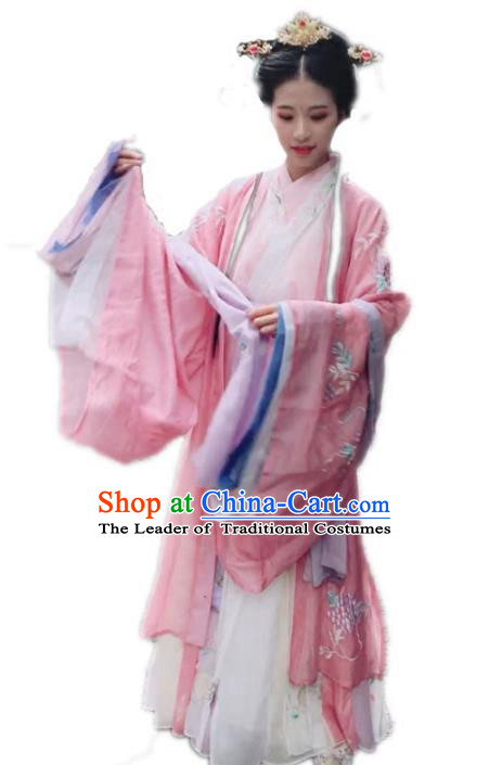Chinese Jin Dynasty Princess Embroidered Hanfu Dress Ancient Palace Lady Costumes Complete Set for Women