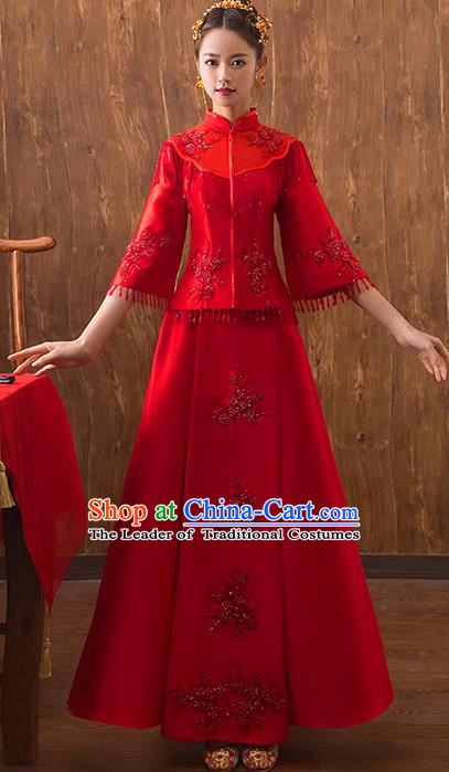 Traditional Chinese Embroidered Red Xiuhe Suit Ancient Wedding Dress Toast Cheongsam for Women