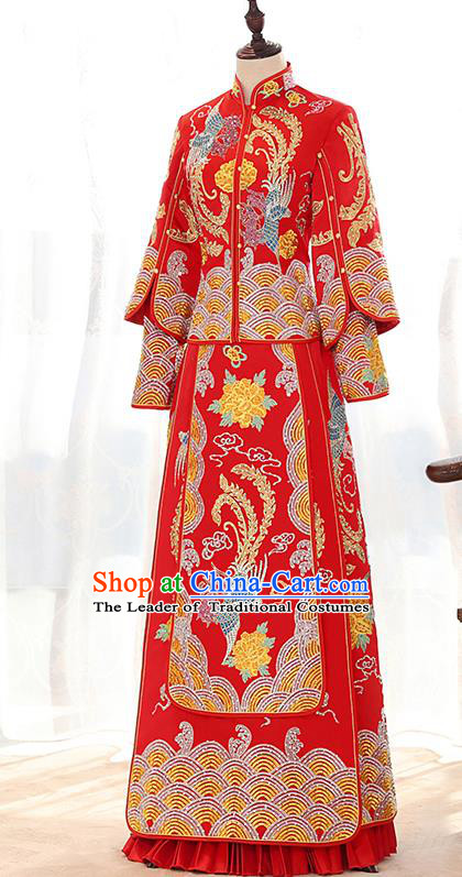 Traditional Chinese Ancient Red Bottom Drawer Embroidered Diamante Xiuhe Suit Wedding Dress Toast Cheongsam for Women