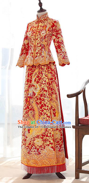 Traditional Chinese Ancient Diamante Bottom Drawer Embroidered Xiuhe Suit Wedding Dress Toast Cheongsam for Women
