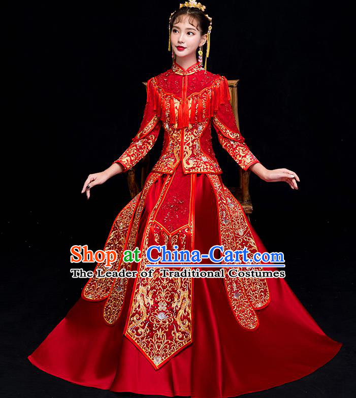 Chinese Traditional Wedding Embroidered Dress Toast Diamante Costumes Ancient Bride Xiuhe Suit Clothing for Women