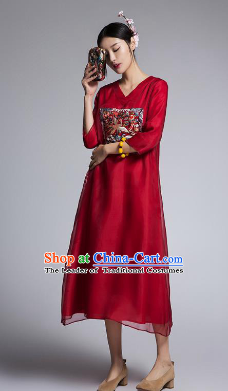 Chinese Traditional Tang Suit Embroidered Crane Red Cheongsam China National Qipao Dress for Women