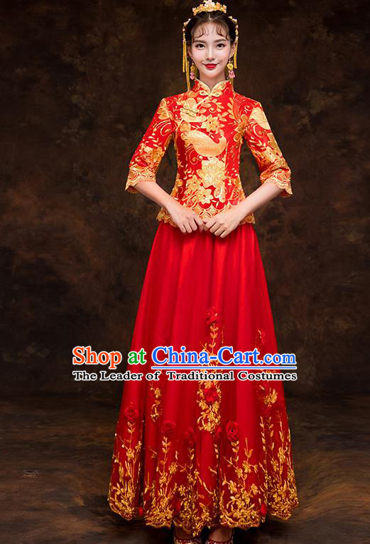 Chinese Traditional Embroidered Cheongsam Wedding Dress Ancient Bride Xiuhe Suit for Women