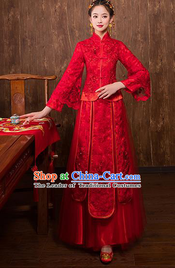 Chinese Traditional Embroidered Bridal Red Xiuhe Suit Wedding Dress Ancient Bride Cheongsam for Women