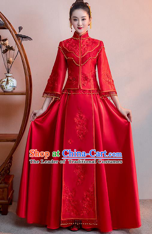 Chinese Traditional Bridal Red Toast Xiuhe Suit Wedding Dress Ancient Bride Cheongsam for Women