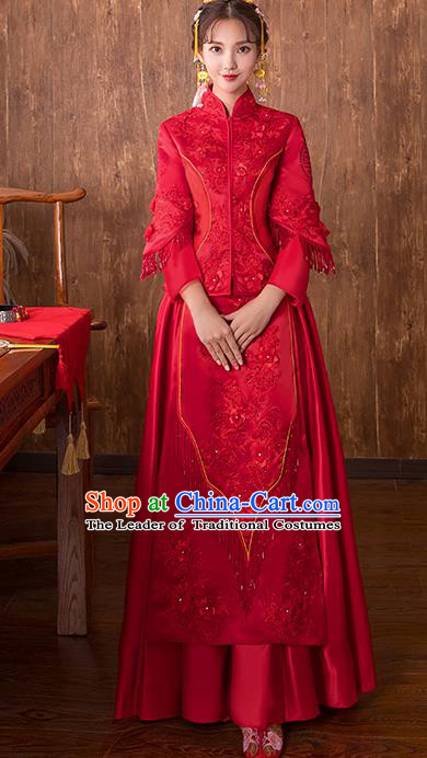 Chinese Traditional Bridal Toast Xiuhe Suit Wedding Dress Ancient Bride Embroidered Red Cheongsam for Women
