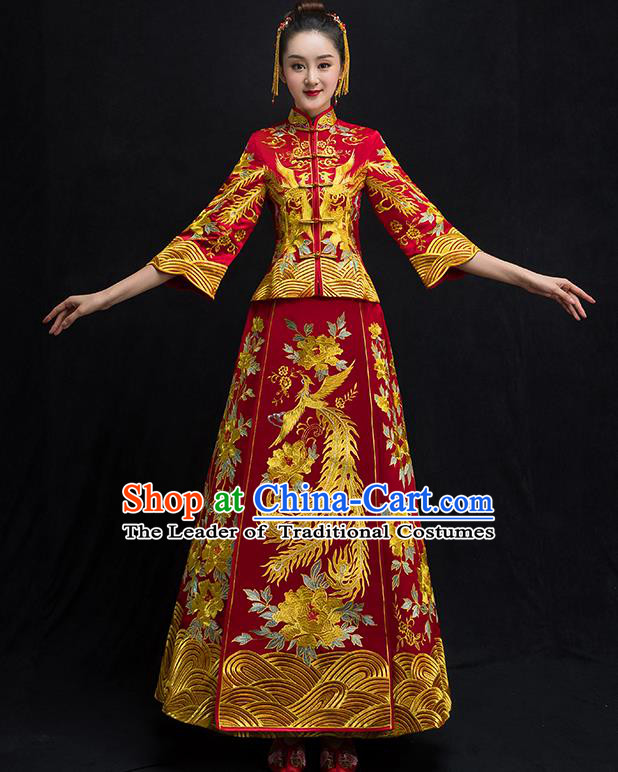 Chinese Traditional Wedding Bridal Embroidered Phoenix Xiuhe Suit Ancient Bride Red Diamante Cheongsam for Women
