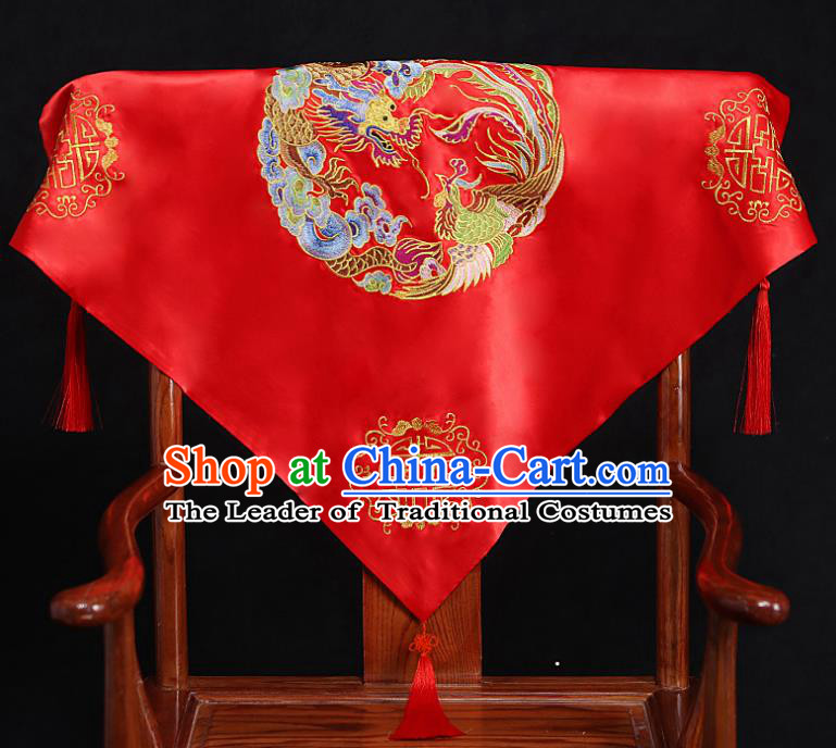 Chinese Traditional Wedding Head Cover Ancient Bride Embroidered Dragon and Phoenix Red Bridal Veil for Women
