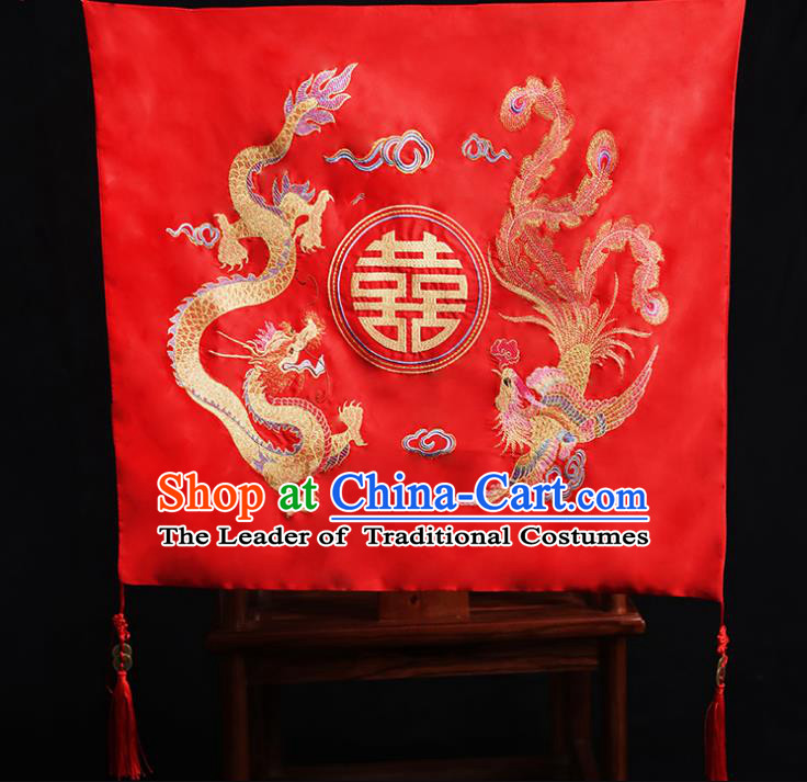 Chinese Traditional Wedding Embroidered Dragon and Phoenix Head Cover Ancient Bride Red Bridal Veil for Women