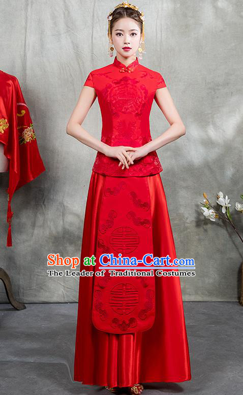 Chinese Traditional Embroidered Bridal Red Xiuhe Suit Ancient Wedding Toast Cheongsam Dress for Women