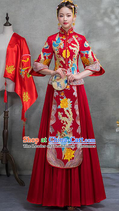 Chinese Traditional Embroidered Phoenix Xiuhe Suit Ancient Wedding Red Toast Cheongsam Dress for Women
