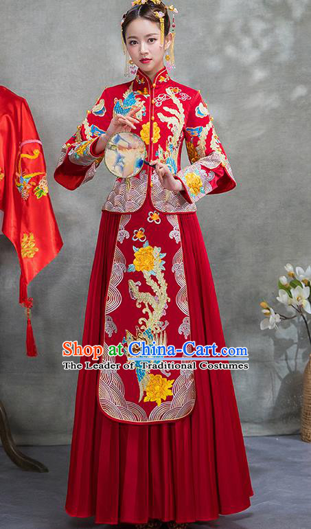 Chinese Traditional Embroidered Peony Phoenix Xiuhe Suit Ancient Wedding Red Toast Cheongsam Dress for Women